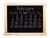 picture of february  - 2015 year calendar made on blackboard - JPG