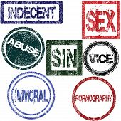 image of immoral  - Stamps with sexual influence isolated on white background - JPG