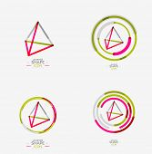 foto of triangular pyramids  - Pyramid shape line design - JPG
