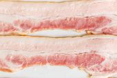 picture of bacon strips  - Two strips of fresh bacon close up