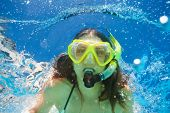 pic of crystal clear  - Close up view of young woman wearing snorkeling mask swimming alone under the crystal - JPG