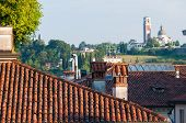 image of vicenza  - View of typical roofs of some houses in Vicenza with Mount Berico in the background - JPG