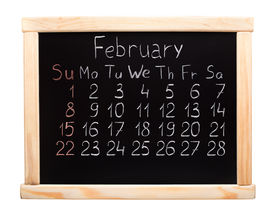 stock photo of february  - 2015 year calendar made on blackboard - JPG