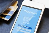stock photo of electronic banking  - mobile shopping concept   - JPG