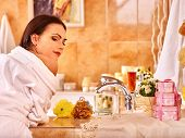 stock photo of bubble-bath  - Woman relaxing at home luxury bath - JPG