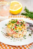 stock photo of crab  - Fresh vegetable salad with corn pepper crab cucumber eggs and mayonnaise - JPG