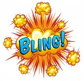 stock photo of slang  - Word bling with cloud explosion background - JPG