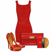 picture of clutch  - Red female clothes with shoes - JPG