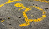 stock photo of handicap  - image of old Handicapped symbol on parking space - JPG