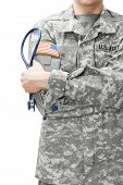 stock photo of army  - US Army doctor holding stethoscope near his shoulder - JPG