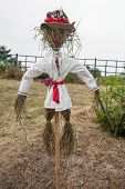 stock photo of scarecrow  - Straw scarecrow on a holiday Ivan Kupala Ukraine - JPG