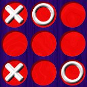 stock photo of toe  - Tic Tac Toe wooden purple board with white symbol on red background - JPG