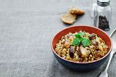 picture of porridge  - barley porridge with mushrooms on a dark background - JPG