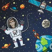 pic of flying saucer  - Cartoon astronaut in space with satellite moon earth and flying saucer on background vector illustration - JPG
