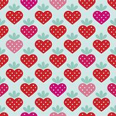 foto of strawberry  - Seamless strawberry fruit heart with polka dot filling background pattern in vector - JPG