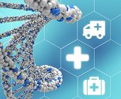 picture of double helix  - DNA molecule twisted into a spiral and medical icons enclosed in hexagons - JPG