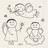 picture of christmas angel  - vector set of doodle hand drawn christmas cartoon angels on paper isolated - JPG