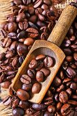 image of pot roast  - coffee beans on the wooden table roast coffee beans - JPG