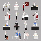 stock photo of chef knife  - Cooking icons set with restaurant chef figures serving a table and making decoration isolated vector illustration - JPG