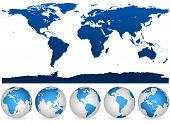 picture of outline  - Detailed blue and white world outline and globes isolated on white - JPG