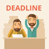 picture of disappointed  - Two sad face hipster Caucasian gentlemen with beard has a big problem because they failed to submit their project  on the deadline with their  two hands raising up - JPG