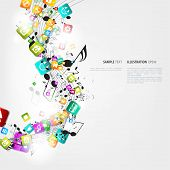 picture of g clef  - Abstract music background with notes and app icons - JPG