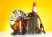 image of rectifier  - motor oil canister and car accessories - JPG
