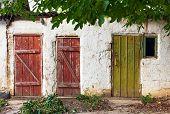 stock photo of shaky  - Three old wooden plank vintage doors - JPG