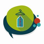 foto of clothes hanger  - Shopping Clothes Hanger Flat Icon With Long Shadow - JPG