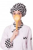 foto of pinafore  - Female chef isolated on white - JPG