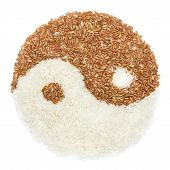picture of yin  - White and brown rice in Yin yang sign show balance diet - JPG