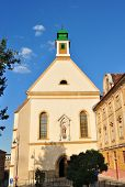 stock photo of sibiu  - Sibiu city Romania Ursuline Church architecture and statue - JPG