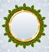 image of plaque  - Christmas plaque with holly wreath on starry background - JPG