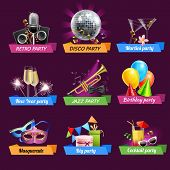 foto of party hats  - Party emblems set with retro disco jazz birthday celebrations realistic elements isolated vector illustration - JPG