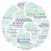 foto of nurture  - Earth shaped education word cloud on a white background - JPG