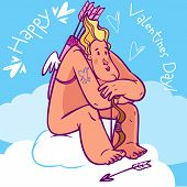 picture of cupid  - Cute and brutal cartoon Cupid resting after his hard work - JPG