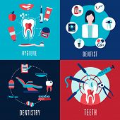 stock photo of teeth  - Medical flat concept with dentistry - JPG