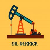 stock photo of oil derrick  - Oil industry concept in flat style depicting working oil derrick or pump jack isolated on yellow background - JPG