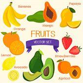 foto of papaya fruit  - Bright fruits set in vector - JPG