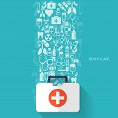 foto of medical equipment  - Flat health care and medical research background - JPG