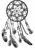 image of dream-catcher  - hand drawn indian dream catcher - JPG