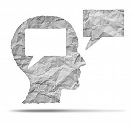 pic of communication  - Speak out concept and express your opinion symbol as a crumpled paper shaped as a human head and talk balloon as a communication icon for broadcasting inner thoughts - JPG