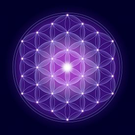 stock photo of occult  - Bright Flower of Life with stars on dark blue background - JPG