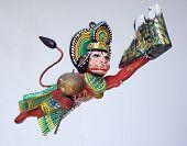 image of hanuman  - Hanuman the monkey god flying carrying mountain range - JPG