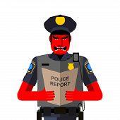 stock photo of policeman  - Angry policeman shouts - JPG