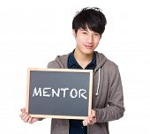 pic of mentoring  - Asian young student with blackboard showing a word mentor - JPG