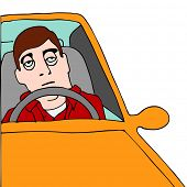 image of droopy  - An image of a tired man sitting in traffic - JPG