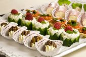 picture of crudites  - Small snacks on a plate ready to be served at the party - JPG