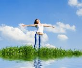 foto of independent woman  - happy young woman dreams to fly on winds - JPG