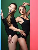 Two Pretty Girls With Red And Blue Lips In Bodysuits poster